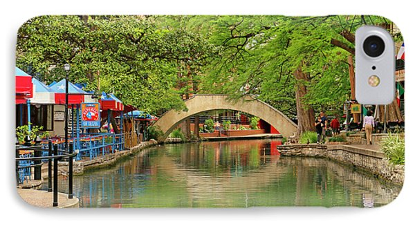 IPhone Case featuring the photograph Arched Bridge Reflection - San Antonio by Art Block Collections