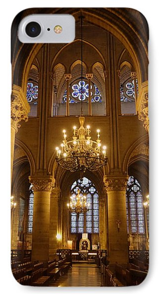 Architectural Artwork Within Notre Dame In Paris France IPhone Case by Richard Rosenshein