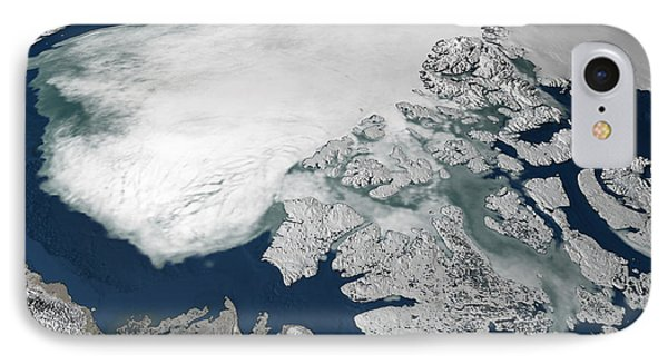 Arctic Sea Ice Above North America Phone Case by Stocktrek Images