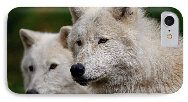 Arctic Wolf Pair Phone Case by Michael Cummings