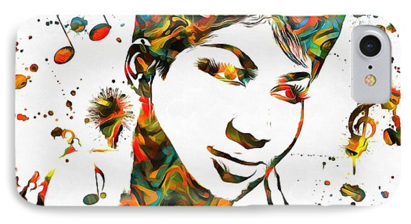 Aretha Franklin Paint Splatter IPhone Case by Dan Sproul
