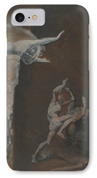 Minotaur iPhone 7 Case - Ariadne Watching The Struggle Of Theseus With The Minotaur by Henry Fuseli