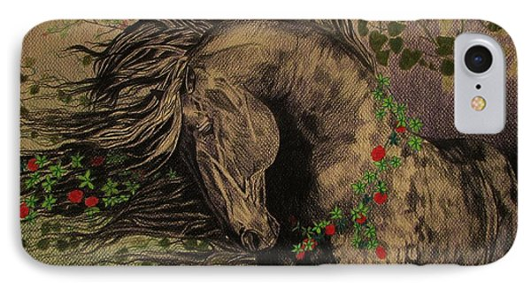 IPhone Case featuring the drawing Aristocratic Horse by Melita Safran