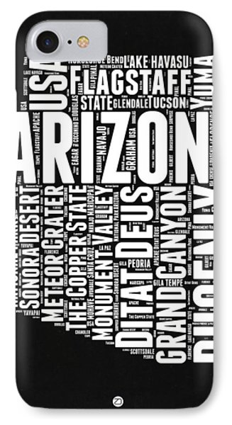 Arizona Black And White Word Cloud Map IPhone 7 Case by Naxart Studio