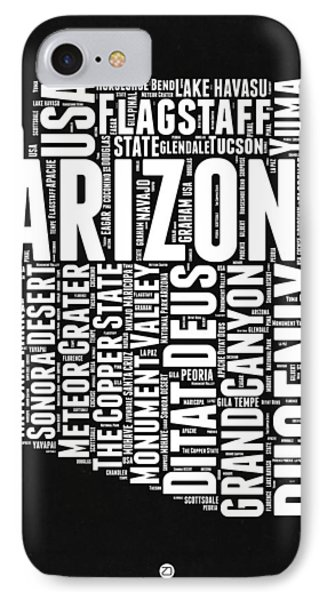 Arizona Black And White Word Cloud Map IPhone Case by Naxart Studio