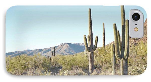 Arizona Cactus Blue Sky Landscape IPhone Case by Andrea Hazel Ihlefeld