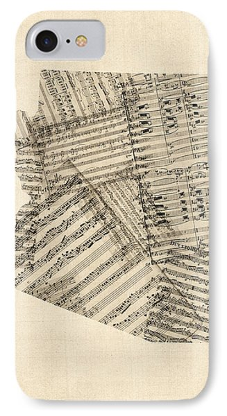 Arizona Map, Old Sheet Music Map IPhone Case by Michael Tompsett