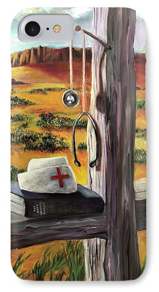 IPhone Case featuring the painting Arizona The Nurse And Hope by Randol Burns