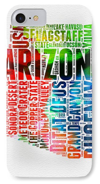 Arizona Watercolor Word Cloud Map  IPhone Case by Naxart Studio