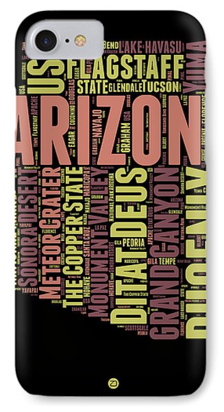 Arizona Word Cloud Map 1 IPhone 7 Case by Naxart Studio