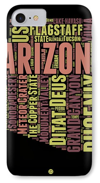 Arizona Word Cloud Map 1 IPhone Case by Naxart Studio