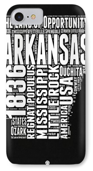 Arkansas Black And White Map IPhone Case by Naxart Studio