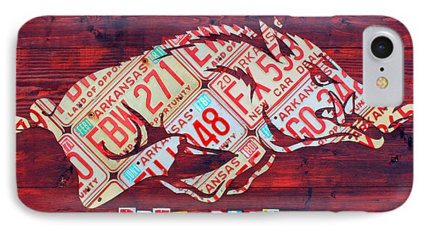 Arkansas Razorbacks Recycled Vintage License Plate Art Sports Team Logo IPhone Case