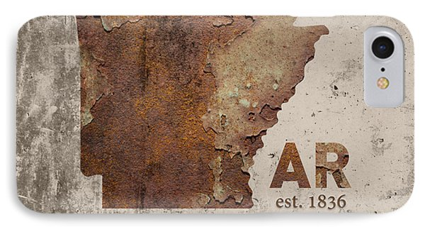 Arkansas State Map Industrial Rusted Metal On Cement Wall With Founding Date Series 034 IPhone Case by Design Turnpike