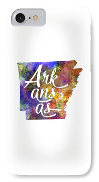 Arkansas Us State In Watercolor Text Cut Out IPhone Case