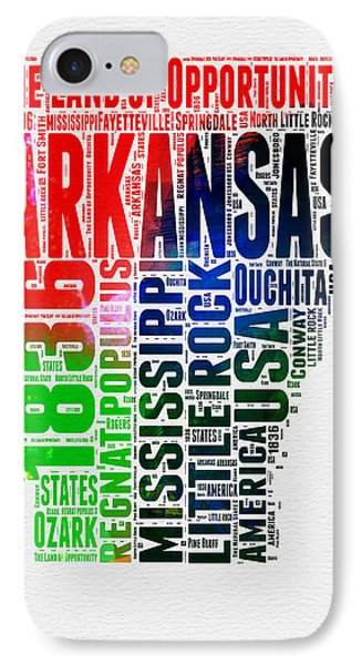 Arkansas Watercolor Word Cloud  IPhone Case by Naxart Studio