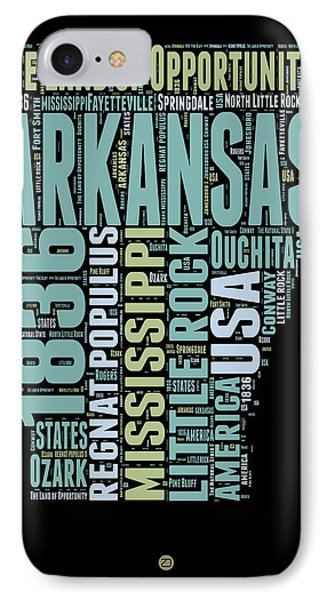 Arkansas Word Cloud 1 IPhone Case by Naxart Studio