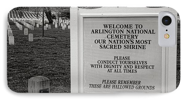 Arlington Cemetery Sign IPhone Case by Olivier Le Queinec