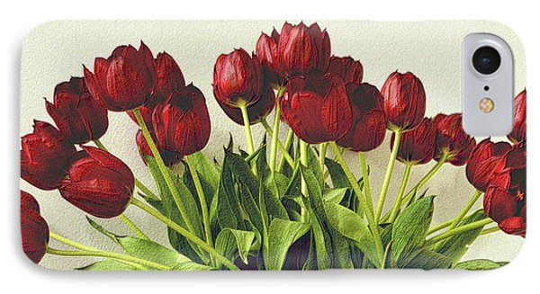 Array Of Red Tulips IPhone Case by Nadalyn Larsen