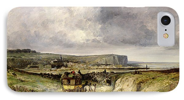 Arrival Of A Stagecoach At Treport Phone Case by Jules Achille Noel