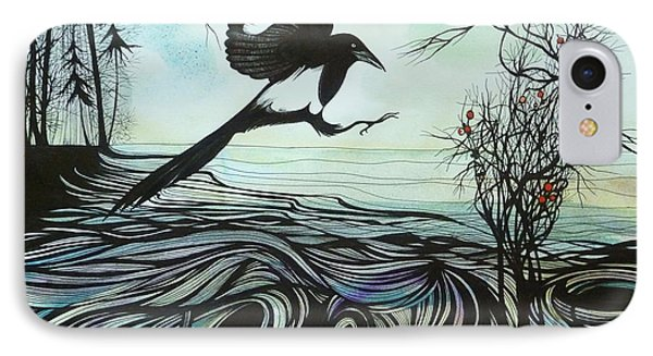 IPhone Case featuring the drawing Arrival Of Autumn by Anna  Duyunova