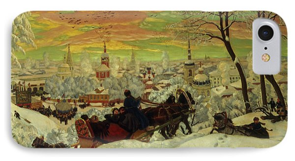 Arriving For The Holidays IPhone Case by Boris Mihajlovic Kustodiev