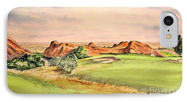 IPhone Case featuring the painting Arrowhead Golf Course Colorado Hole 3 by Bill Holkham