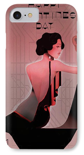 IPhone Case featuring the digital art Art Deco Valentine Greeting by Jeff Burgess