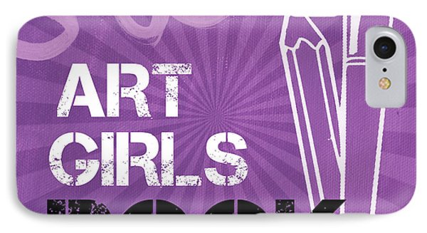 Art Girls Rock IPhone Case by Linda Woods