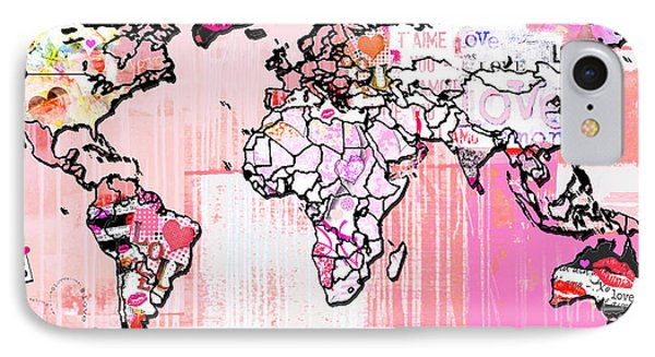Art Map Pink Love IPhone Case by WALL ART and HOME DECOR