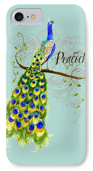 Art Nouveau Peacock W Swirl Tree Branch And Scrolls IPhone Case by Audrey Jeanne Roberts