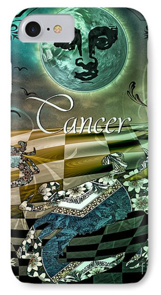 Art Nouveau Zodiac Cancer IPhone Case by Mindy Sommers