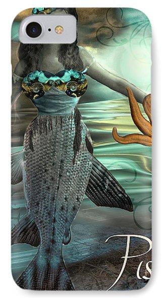 Art Nouveau Zodiac Pisces IPhone Case by Mindy Sommers