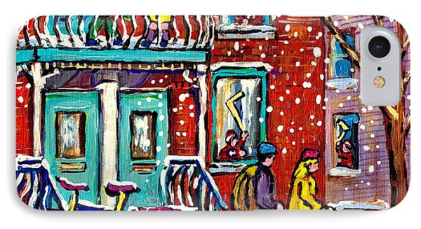 Art Of Urban Montreal Snowy Street Canadian Winter Scene Painting Carole Spandau                     IPhone Case by Carole Spandau