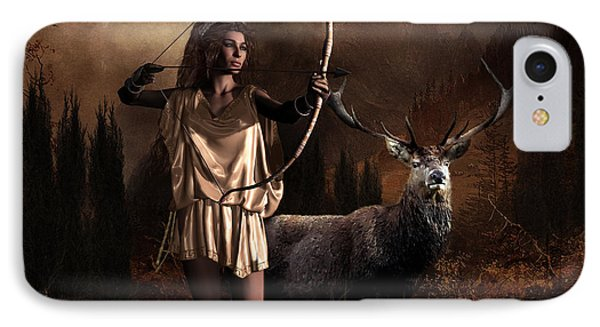 IPhone Case featuring the digital art Artemis Goddess Of The Hunt by Shanina Conway