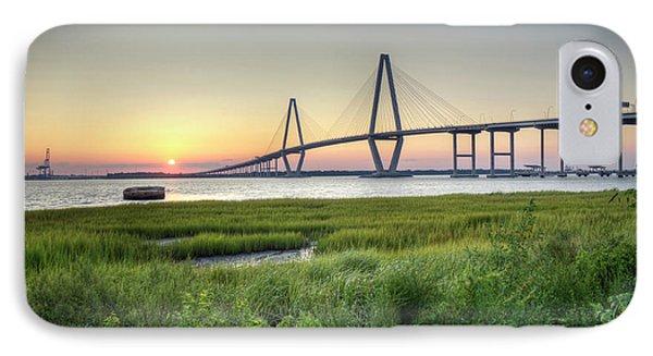 Arthur Ravenel Bridge Sunset IPhone Case by Dustin K Ryan