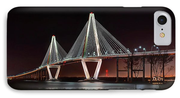 IPhone Case featuring the photograph Arthur Ravenel Jr. Bridge At Midnight by George Randy Bass