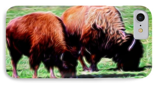Artistic American Bison IPhone Case by Linda Phelps