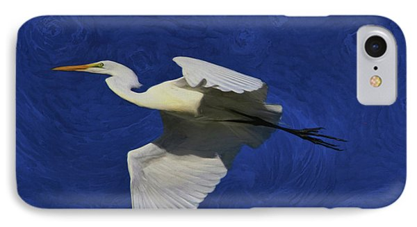 IPhone Case featuring the painting Artistic Egret by Deborah Benoit