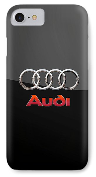 Audi - 3 D Badge On Black IPhone Case by Serge Averbukh