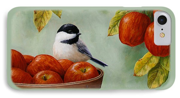 Apple Chickadee Greeting Card 1 IPhone Case by Crista Forest
