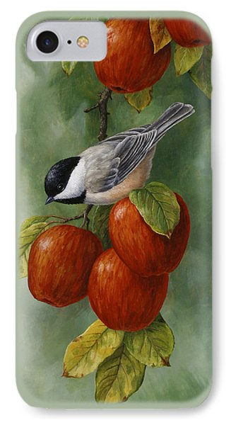 Apple Chickadee Greeting Card 3 IPhone Case by Crista Forest