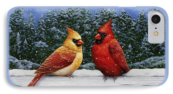 Bird Painting - Christmas Cardinals IPhone Case by Crista Forest