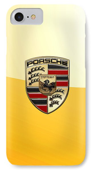 Porsche - 3d Badge On Yellow IPhone Case by Serge Averbukh