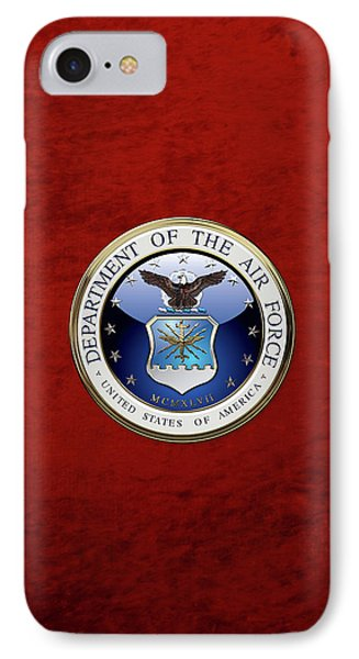 U. S.  Air Force  -  U S A F Emblem Over Red Velvet IPhone Case by Serge Averbukh
