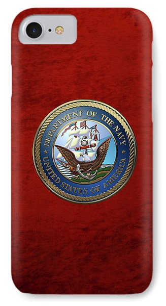 U. S.  Navy  -  U S N Emblem Over Red Velvet IPhone Case by Serge Averbukh
