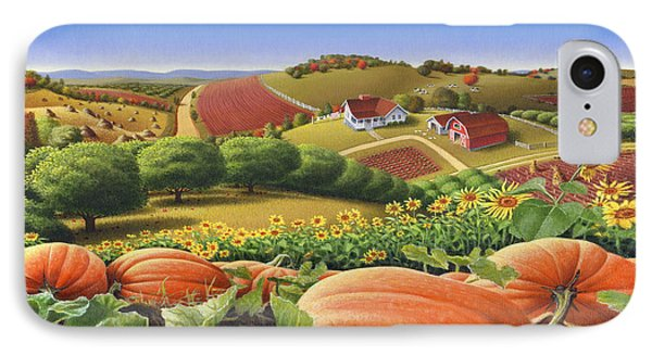 Farm Landscape - Autumn Rural Country Pumpkins Folk Art - Appalachian Americana - Fall Pumpkin Patch IPhone 7 Case