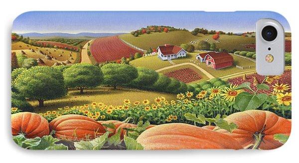 Farm Landscape - Autumn Rural Country Pumpkins Folk Art - Appalachian Americana - Fall Pumpkin Patch IPhone 7 Case by Walt Curlee