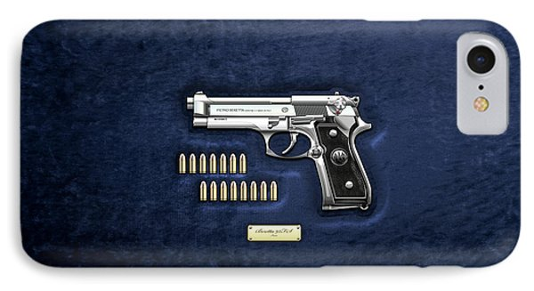 Beretta 92fs Inox With Ammo On Blue Velvet  IPhone Case