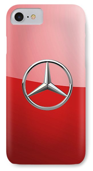 Mercedes-benz - 3d Badge On Red IPhone Case by Serge Averbukh
